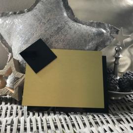 Blanco Naambordje - RVS Look Goud met Zwarte Achterplaat & Ruit - 15 * 20 cm