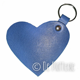Leren sleutelhanger 'Hart' - Blauw