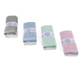 Spuugdoekjes, verpakt per 2 - in 4 kleuren combinaties leverbaar