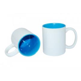 Licht Blauwe 11 oz. Mok Wit met gekleurde binnenkant & oor | AA Kwaliteit
