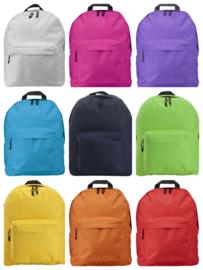 Polyester Rugzak met 2 ritsvakken- 10 kleuren leverbaar