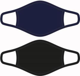 Mondkapje / Mondmasker  Heren - Zwart  / Donkerblauw - Maat M  - per 2 stuks
