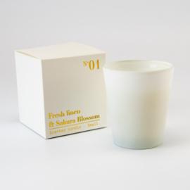 Luxe Geurkaars |  Wit Glas | Fresh Linen & Sakura Blossom geur | Small
