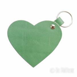 Leren sleutelhanger 'Hart' - Leger Groen