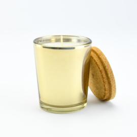 Geurkaars Middel - Goud glas met een deksel van kurk - Jasmijn geur