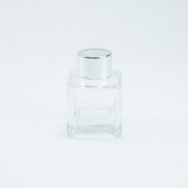 Parfumflesje Vierkant - Helder Glas met Zilverkleurige Dop - 50 ml
