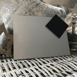 Blanco Naambordje - RVS Look Zilver met Zwarte Ruit - 15 * 20 cm