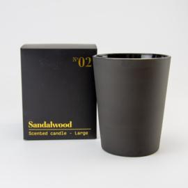 Luxe Geurkaars | Zwart Glas | Sandalwood geur | Large