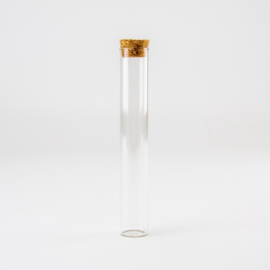 Glazen Proefbuisje / Reageerbuisje met Kurkstop   15 cm hoog