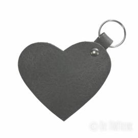 Leren sleutelhanger 'Hart' - Antraciet