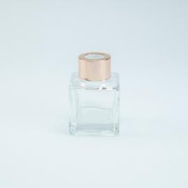 Parfumflesje Vierkant - Helder Glas met Rosékleurige Dop - 50 ml