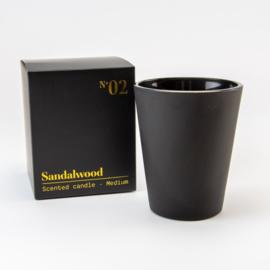 Luxe Geurkaars | Zwart Glas | Sandalwood geur | Medium