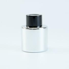Parfumflesje Rond - Zilver met Zwarte Dop - 50 ml