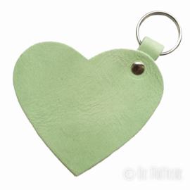Leren sleutelhanger 'Hart' - Mint Groen