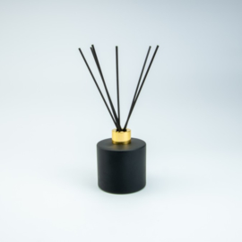 Set Groot Parfumflesje Rond + geurstokjes | Zwart met goudkleurige Dop - 200 ml