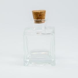 Parfumflesje Vierkant - Helder Glas met Kurkstop - 80 ml