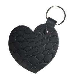 Leren sleutelhanger 'Hart' - Zwart Croco