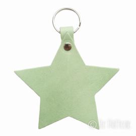 Leren sleutelhanger  'Ster' - Mint Groen