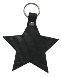Leren sleutelhanger  'Ster' - Zwart Croco