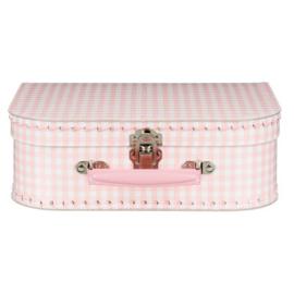Roze Geruit  Vintage Kartonnen Koffertje - 25*17*8,5 cm - Normaal
