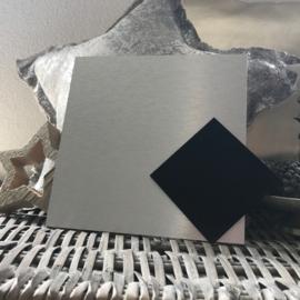 Blanco Naambordje - RVS Look Zilver Vierkant met Zwarte Ruit - 20 * 20 cm