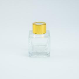 Parfumflesje Vierkant - Helder Glas met Goudkleurige Dop - 50 ml