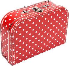 Kartonnen Koffertje Rood met witte stippen - Maat 25*18*9 cm