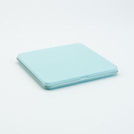 Vierkant plat opberg blik - Blauw