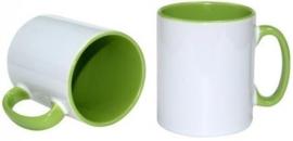 Groene 11 oz. Mok Wit met gekleurde binnenkant & oor - AA Kwaliteit
