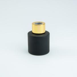 Parfumflesje Rond - Zwart met Goudkleurige Dop - 50 ml