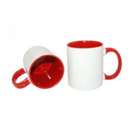 Rode 11 oz. Mok Wit met gekleurde binnenkant & oor - AA Kwaliteit