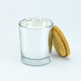 Geurkaars | Zilver Glas met deksel van Kurk | Cederhout geur | Large
