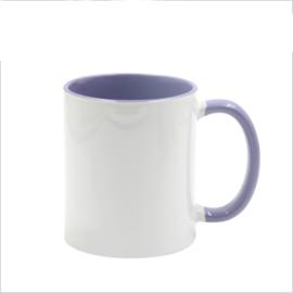 Licht Paarse 11 oz. Mok Wit met gekleurde binnenkant & oor - AA Kwaliteit