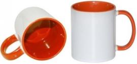 Oranje 11 oz. Mok Wit met gekleurde binnenkant & oor - AA Kwaliteit