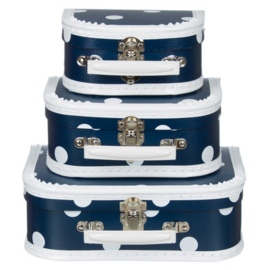 Blauw Vintage Kartonnen Koffertje met witte stippen - 16*11*7,5 cm - Mini
