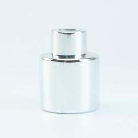 Parfumflesje Rond - Zilver met Zilverkleurige Dop - 50 ml