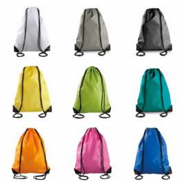 Polyester Rugzak met draagkoord - in 18 kleuren leverbaar