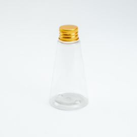 Plastic flesje - Kegelvorming  met gouden schroefdop - 65 ml