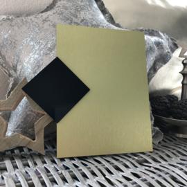 Blanco Naambordje - RVS Look Goud met Zwarte Ruit - 15 * 20 cm