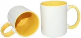 Gele 11 oz. Mok Wit met gekleurde binnenkant & oor - AA Kwaliteit