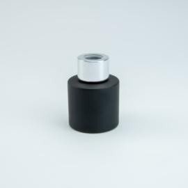 Parfumflesje Rond - Zwart met Zilverkleurige Dop - 50 ml