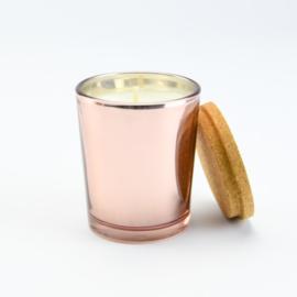 Geurkaars Middel - Rosé Goud glas met een deksel van kurk - Rozen geur (middel)