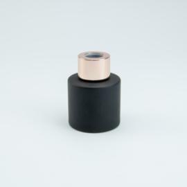 Parfumflesje Rond - Zwart met Rosékleurige Dop - 50 ml