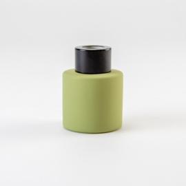 Parfumflesje Rond - Olijfgroen met Zwarte Dop - 50 ml