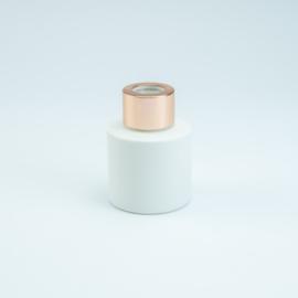 Parfumflesje Rond - Wit met Rosékleurige Dop - 50 ml