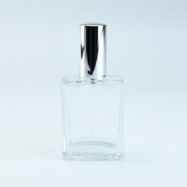 Luxe Parfumflesje  - Helder Glas met Zilverkleurige Spraydop  - 60 ml