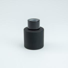 Parfumflesje Rond - Zwart met Zwarte Dop - 50 ml