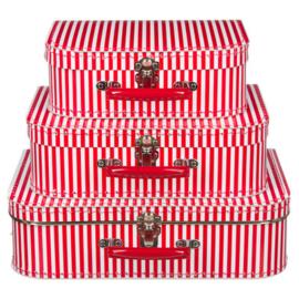 Rood-Wit gestreept  Vintage Kartonnen Koffertje - 30*21*9 cm - Middel