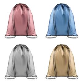 Polyester Rugzak met draagkoord - in 4 Metallic kleuren