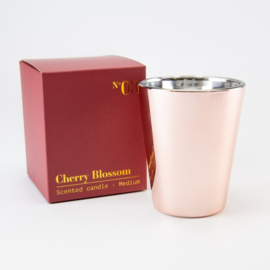 Luxe Geurkaars | Rosé Gold Glas | Cherry Blossom geur | Medium